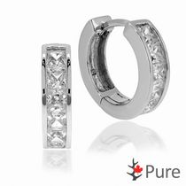 Pure Cubic Zirconia Hoop Earrings, in Sterling Silver