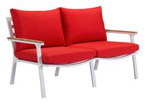 Zuo Modern Outdoor 1-Piece Teak & Powder Coted Aluminum Red Maya Beach Sofa