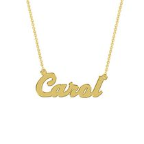 Women's Sterling Silver Gold Plated Name Plate with Chain - Carol