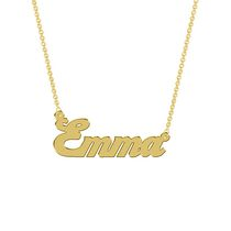 Women's Sterling Silver Gold Plated Name Plate with Chain - Emma