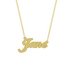Women's Sterling Silver Gold Plated Name Plate with Chain - Jane