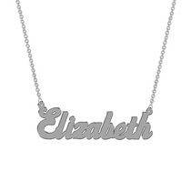 Women's Sterling Silver Name Plate with Chain - Elizabeth