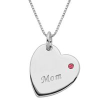 "Sterling Silver ""Mom"" Pink Rhinestone Accent Heart Pendant"