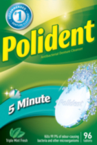 Polident 5 Minute Antibacterial Triple Mint Fresh Denture Cleanser
