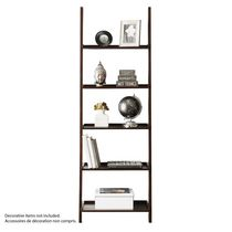 hometrends 5-Tier Solid Wood Espresso Leaning Bookcase