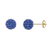 10K Yellow Gold 6.8MM Ball Swarovski Sapphire Crystal Earrings