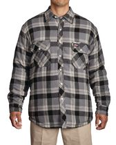 Genuine Dickies Mens Quilted Snap Shirt L Black/Grey