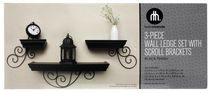 Hometrends 3pc Wall Ledge Set w/ Scroll Brackets, Black