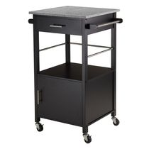 Winsome Davenport Kitchen Cart with Granite Top in Black Finish -20023