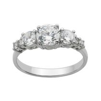 """Bride to Be"" Sterling Silver 7-Stone Cubic Zirconia Ring 8"