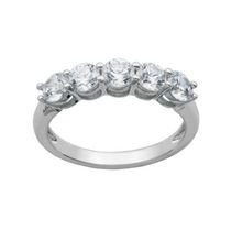 """Bride to Be"" Sterling Silver 5-Stone Cubic Zirconia Ring 6"