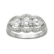"""Bride to Be"" Sterling Silver 3-Stone Cubic Zirconia Ring 9"