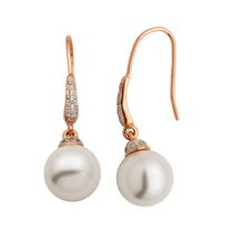 """Bride to Be"" Sterling Silver and Rose Gold Plated Pearl & CZ  Drop Earrings"