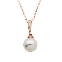"""Bride to Be"" Sterling Silver and Rose Gold Plated Pearl & CZ  Pendant Necklace"