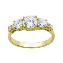 """Bride to Be"" Sterling Silver & 18K Gold Plated 7-Stone Cubic Zirconia Ring 9"