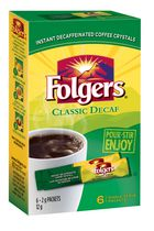 Folgers Classic Decaf Instant Coffee Packets