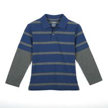 George Toddler Boys' Long Sleeved Cotton Fooler Polo Blue 2T
