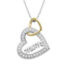 "Sterling Silver Two Tone ""Mom"" double heart Pendant withYellow Gold Plating"