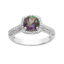 Sterling Silver Genuine Fire Green Mystic Topaz and CZ Ring 7