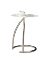 Monarch Chrome Metal Accent Table With Frosted Tempered Glass