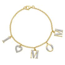"Paj Sterling Silver 18K Gold Plated ""I Love Mom"" Charm Bracelet with Diamond Accent. 7.25"""