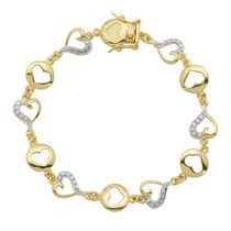 Paj Sterling Silver 18K Gold Plated Heart Bracelet with Diamond Accent.7.25""