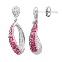 PAJ Iceberg Collection Crystal Twist Earring - Hot Pink