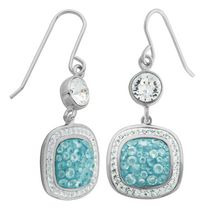 PAJ Iceberg Collection Crystal Cushion Drop Earrings - Baby Blue