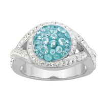 PAJ Bague arrondie Collection Cristal Iceberg - bleu pâle