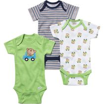 Gerber Onesies® Underwear 3-Pack Fashion Short Sleeve - Neutral Green 3-9 months