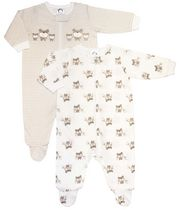 Gerber Childrens Wear Zip-Front Sleep 'n Play Wear Set - Pack of 2 Cocoa