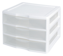 Sterilite Wide White 3 Drawer Unit