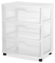 Sterilite Wide 3 Drawer White Cart