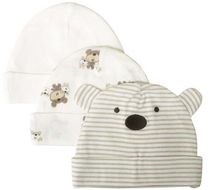 Gerber Newborn Baby Neutral 3-Pack Cap Cocoa