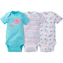 Gerber Chidrenswear Onesies® Newborn Girls' Fashion Short Sleeve Bodysuits - Pack of 3 Aqua 3-9 months