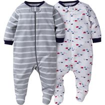 Gerber Chidrenswear Newborn Boys' Zip-Front Sleep 'n Play Outfits - Pack of 2 Gray 0-3 months
