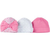 Gerber Chidrenswear Newborn Girls' Baby Cap - Pack of 3 Pink 0-6 months