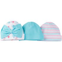 Gerber Chidrenswear Newborn Girls' Baby Cap - Pack of 3 Aqua Newborn