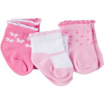 Gerber Chidrenswear Girls' Jersey Ankle Socks - Pack of 3 Pink