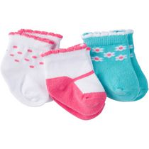 Gerber Chidrenswear Girls' Jersey Ankle Socks - Pack of 3 Coral