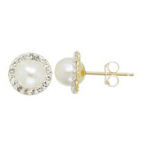 Simply Pearl Collection-10 Karat yellow gold Earring with 5.75 Genuine freshwater Cultured button pearl with crystal halo