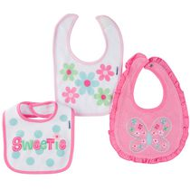 Gerber Chidrenswear Girls' Terry Butterfly Bibs - Pack of 3 Pink