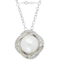 Simply Pearl Collection-Sterling Silver Pendant w/ 8MM Cultured Freshwater Pearl, diamond tdw. .024ct