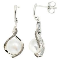 Simply Pearl Collection-Sterling Silver Earring with 8MM Cultured Freshwater Pearl, black and white diamond accent tdw. .012ct