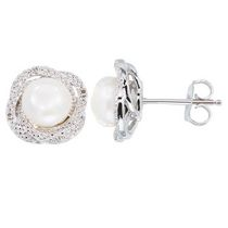 Simply Pearl Collection-Sterling Silver Earring with 8MM Cultured Freshwater Pearl, diamond accent tdw. .024ct