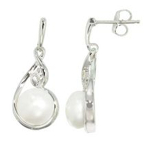 Simply Pearl Collection-Sterling Silver Earring with 9MM Cultured Freshwater Pearl and Topaz