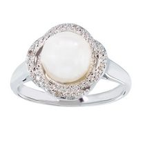 Simply Pearl-Sterling Silver Cultured Freshwater 8MM Pearl ring w/ diamond accent  .012ct tdw