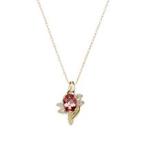 10 Karat yellow gold January Birthstone Pendant-7/5 oval Genuine Garnet and Diamond. Garnet