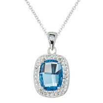 Luminesse Collection-Sterling Silver Pendant with geometric blue topaz crystal and white crystal accent