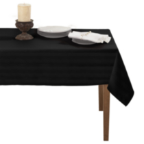 Decolin Canada Inc. Striiped Microfiber Tablecloth Black 152 cm x 259 cm